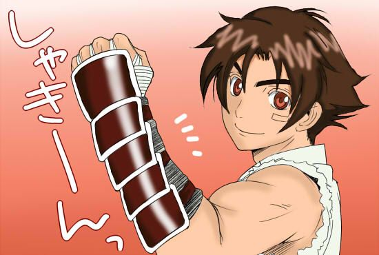 Kenichi Showing Off His Gauntlets